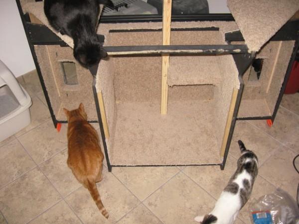 140104diycathouse01 600x450 - 60インチのテレビ、猫ハウスに生まれ変わる