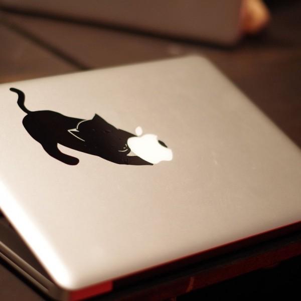 140316catmac01 600x600 - リンゴにじゃれる猫、MacBookのボディに遊ぶ