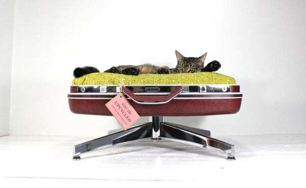 140915catbed01 600x370 - スーツケースベッドに寝そべる猫、寝心地の良さに顔を埋める