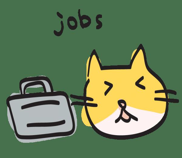 140915cui jobs 600x519 - UNIXコマンドを擬猫化した「CUI」、LINEスタンプにて登場