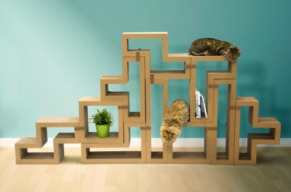 141111Katris02 600x396 - 段ボール製テトリスブロック、組合せ次第で家具にも猫の遊び場にも