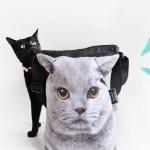 誤発注にてセール中、グレーの猫のフェイスバッグ