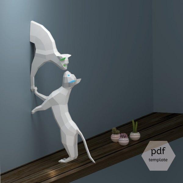 170502catPapercraft01 600x600 - リアルな猫のペーパークラフト、壁から飛び出て鼻を合わせて