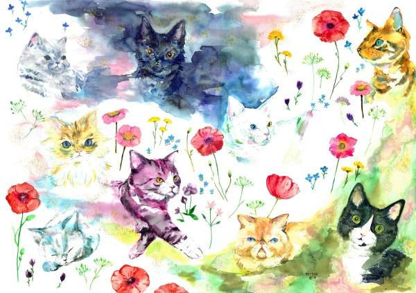 181105cat02 2000 600x423 - 宇宙より深き豊かさ猫の色、吉祥寺で11/22から猫イラスト展が開催