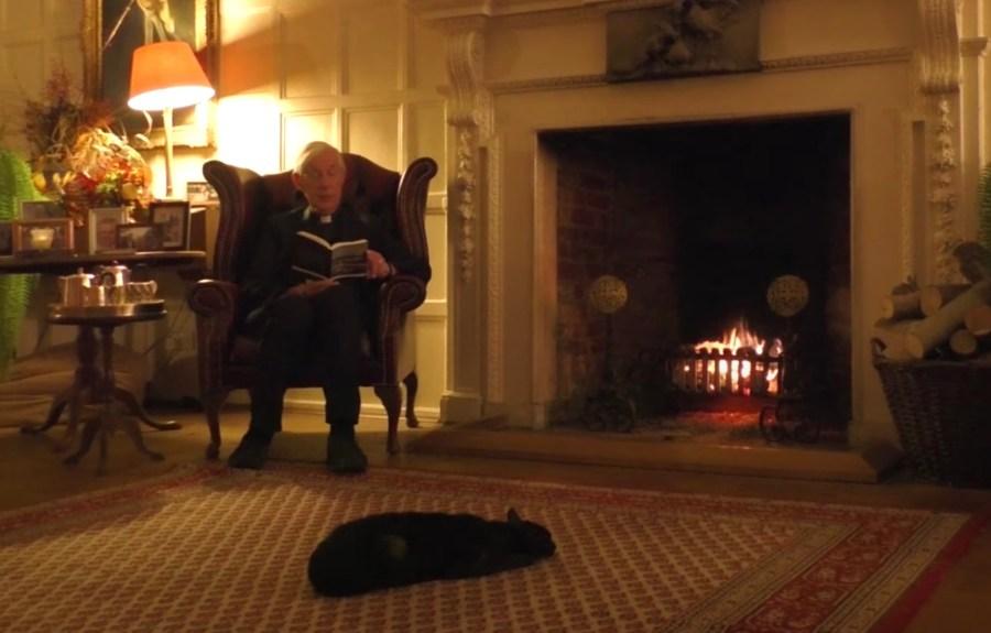 201123cat 1024x654 - 司祭によるオンラインでの朝の説教、猫が暖炉でぬくもってる回