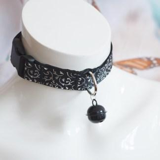 Kitten play buckle collar - Black Swirl