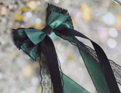 Black and Gree hair bow