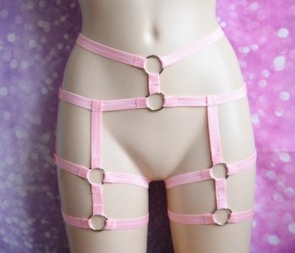 Body harness - Sweetilda - pink elastic leg thight garter harness