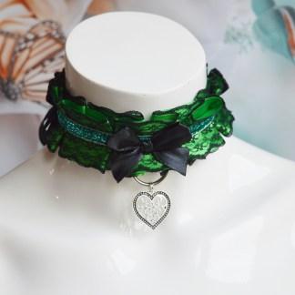 Kittenplay bdsm proof collar - Emerald heart