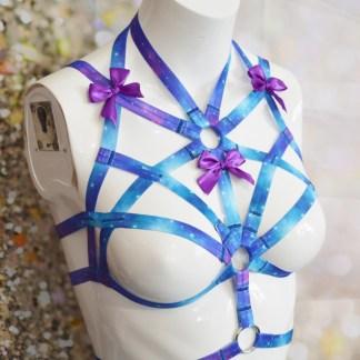 Pleiades – Blue galaxy elastic bra harness