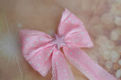 Hair bow - pastel pink w/ star