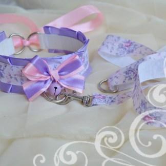 Kitten play collar leash set - Lilac blossom