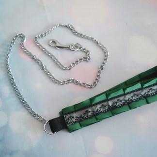 Green and grey chain leash