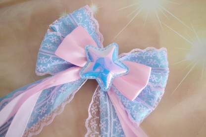 Hair bow w/ star - pastel pink blue