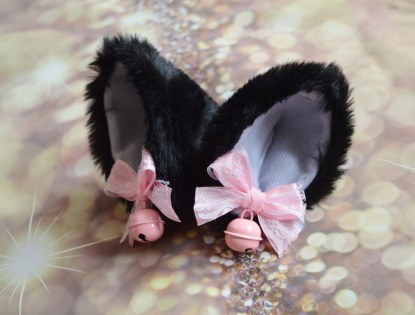 Kitten play clip on cat ears with ribbon bows and bell