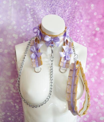 Kitten play collar leash cuffs set - Lace Gem