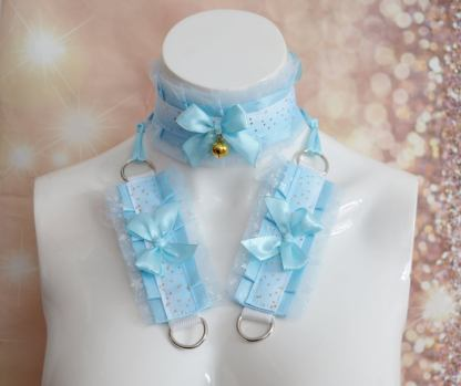 Kitten play collar and cuffs - Turquoise Sky