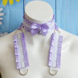 Kitten play collar and cuffs - Summer Crystal