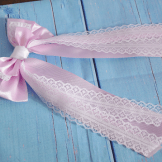Hair bow - pastel lilac purple and white bow