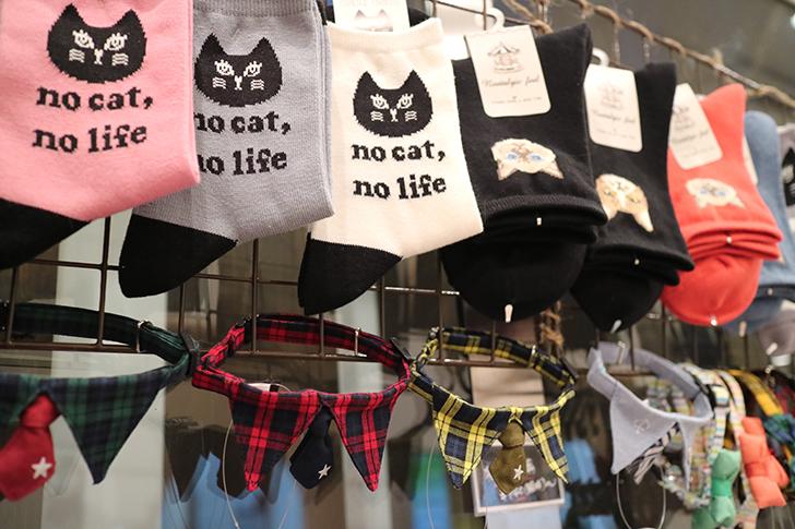 猫柄ソックス、猫の首輪