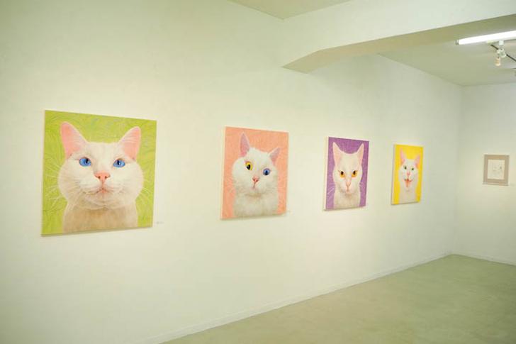 猫の日本画が並ぶ