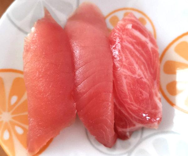 かっぱ寿司の大とろ・中とろ・まぐろ