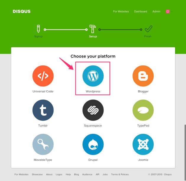 Disqus Choose a platform 1