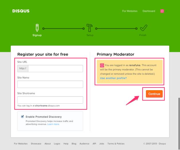 Disqus Register site 2