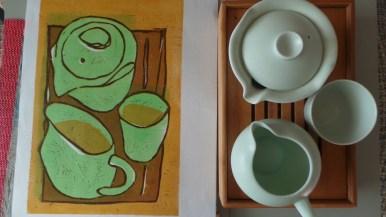 Green tea pot , jug and cup