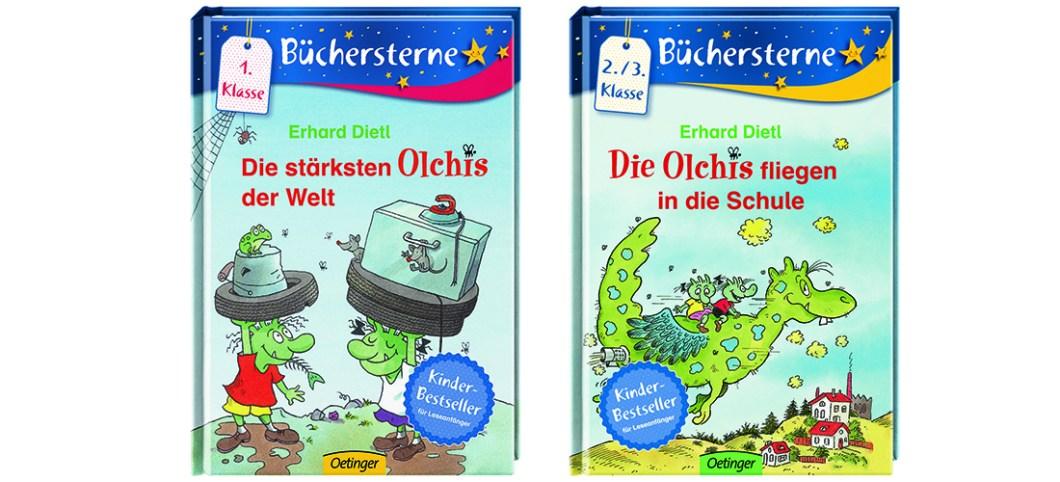"""Buchcover von """"Die stärksten Olchis der Welt"""" und """"Die Olchis fliegen in die Schule"""""""