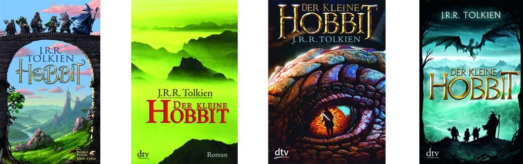 """Verschiedene Buchcover von """"Der kleine Hobbit"""" von J. R. R. Tolkien"""