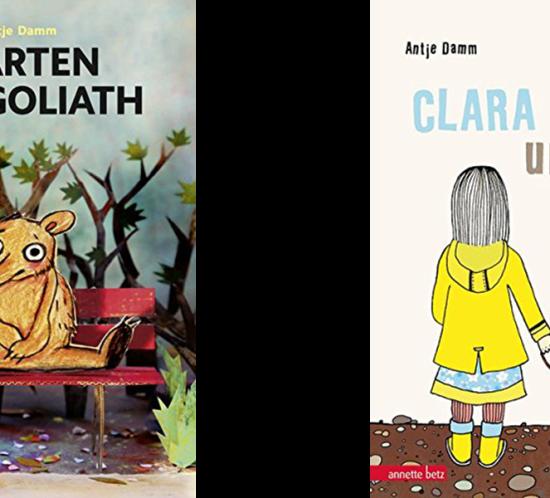 """Coverbilder der Bücher """"Warten auf Goliath"""" und """"Clara und Bruno"""" von Antje Damm."""