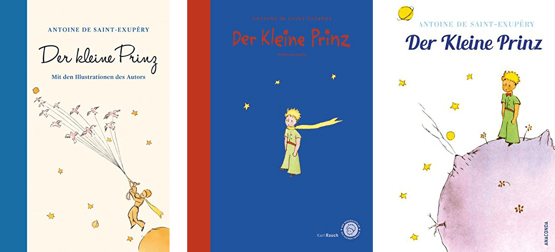 """Coverbilder verschiedener Ausgaben vom Buch """"Der kleine Prinz"""" von Antoine de Saint-Exupéry."""