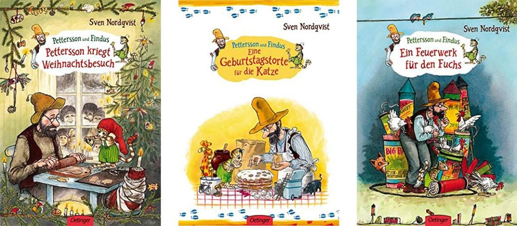 """Coverbilder der Bücher """"Pettersson kriegt Weihnachtsbesuch"""", """"Eine Geburtstagstorte für die Katze"""" und """"Ein Feuerwerk für den Fuchs"""" von Sven Nordqvist."""