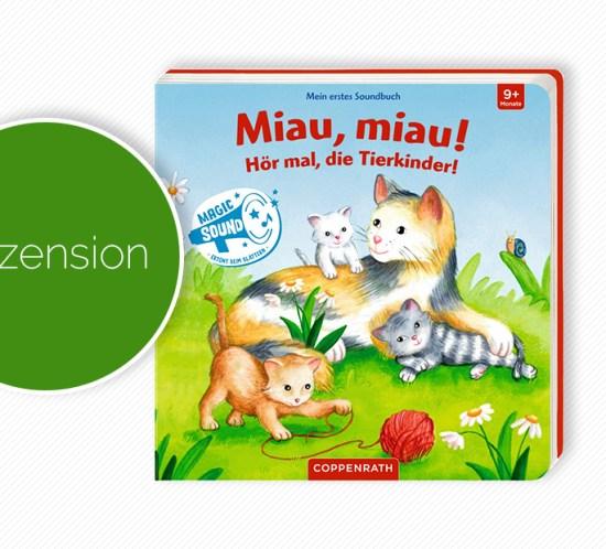 """Buchcover vom Pappbilderbuch """"Mein erstes Soundbuch: Miau, miau! Hör mal, die Tierkinder!"""""""