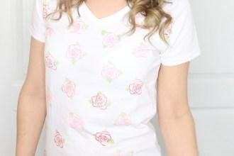 DIY Rose Stamped Shirt