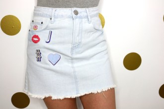 DIY Patch Jean Skirt