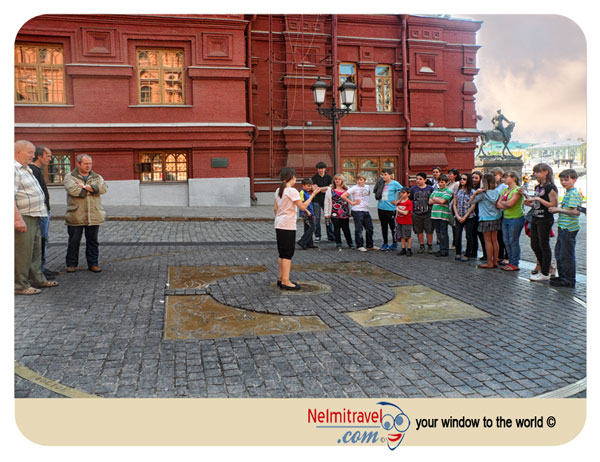 Kilometer Zero Moscow. Make a wish and throw a coin.
