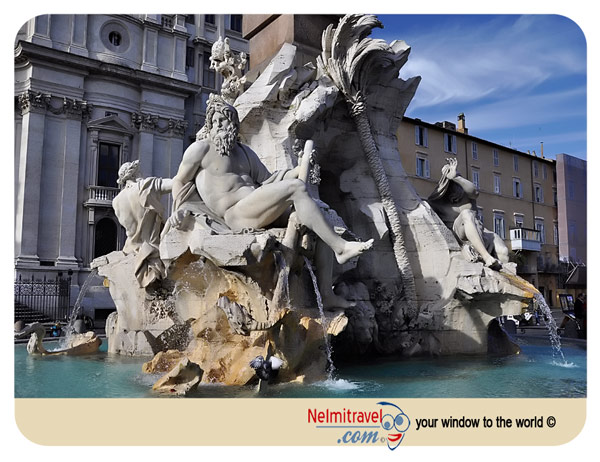 Fountain of the four rivers, Fontana dei Quattro Fiumi, Bernini, Rome, Fountains, Tourist attractions Rome;