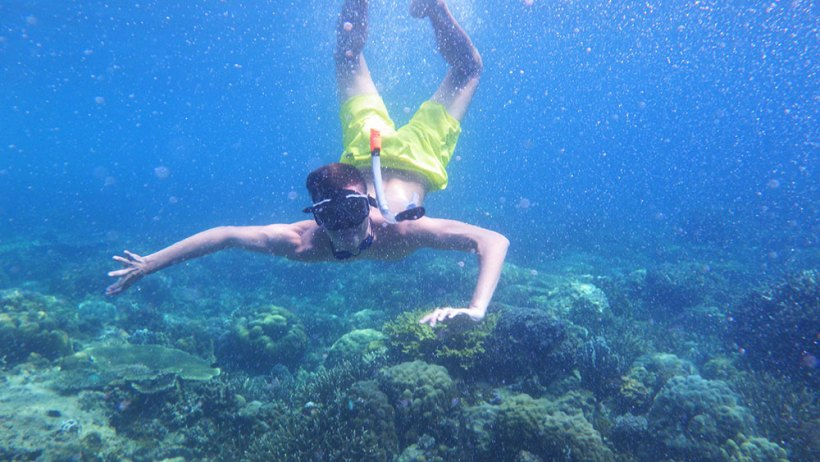 Snorkeling in Helicopter Island
