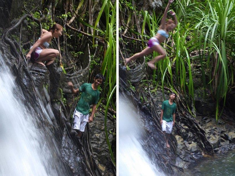 Cliff jumping at Nagkalit-kalit Falls