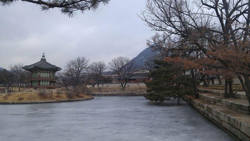 A frozen lake in Gyeongbokgung Palace