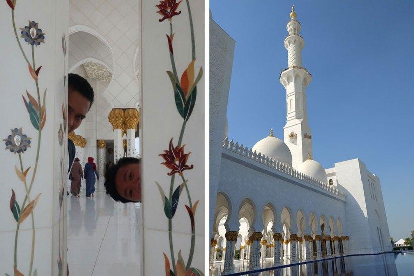 Columns, minaret, and reflecting pool