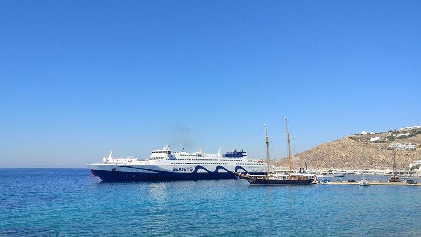 Seajets ferry in Mykonos, Greece