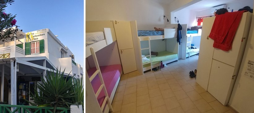 Checking in at Fira Backpackers Place
