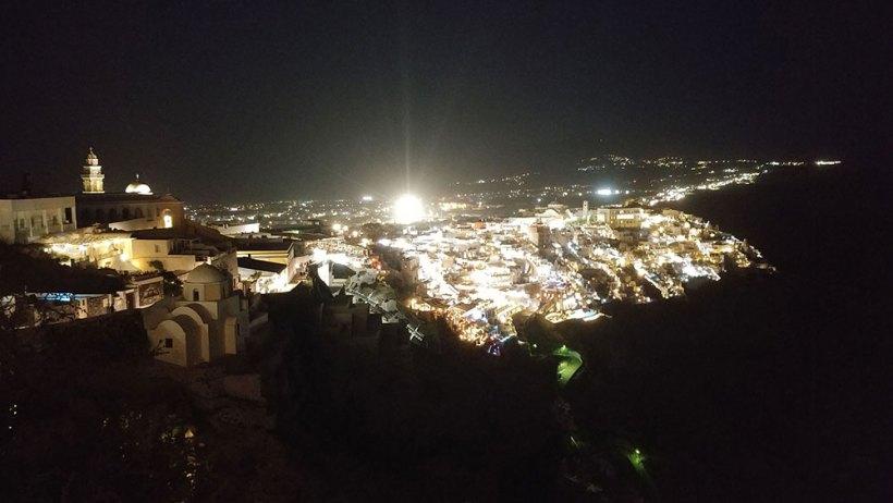 The beautiful Santorini at night