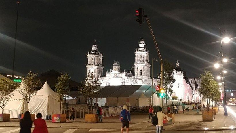 Mexico City Metropolitan Cathedral as seen through Zocalo
