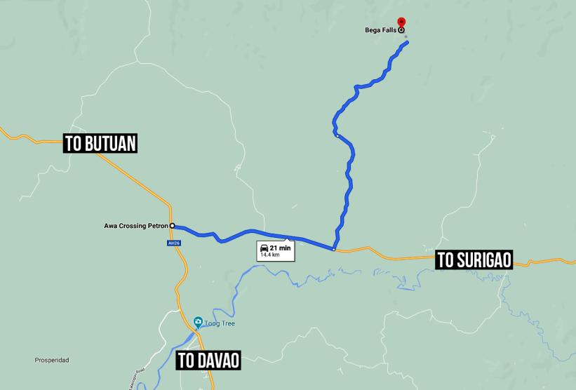 Map to Bega Falls