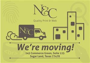 Sample self promotion postcard for N&C's office move