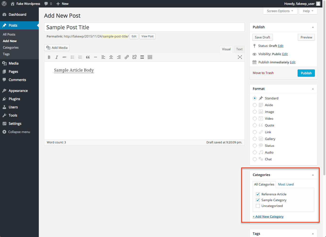 Wordpress Reference Article Tutorial